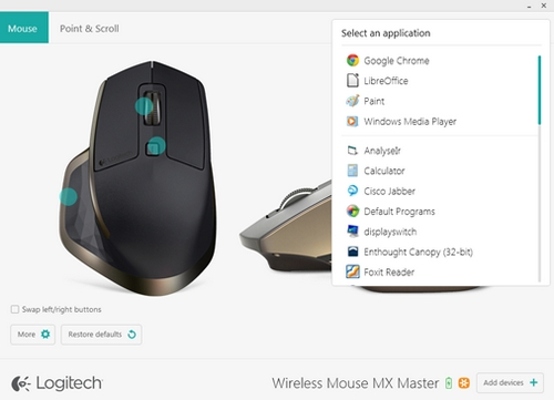 Configure Application Specific settings with Logitech