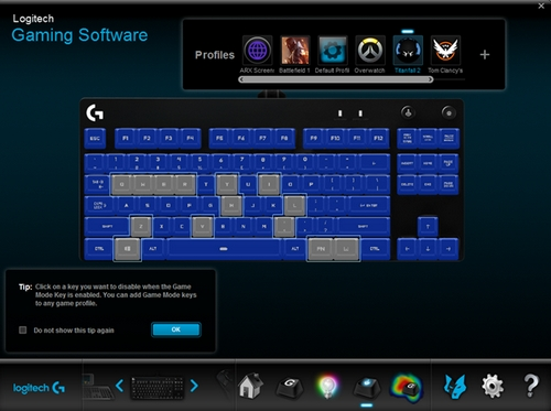 Game Mode and backlight control on the Pro Gaming Keyboard