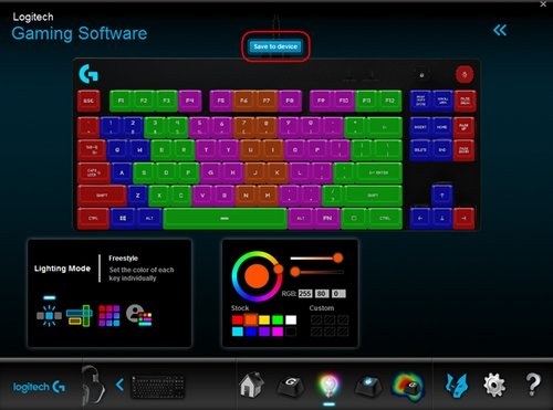 Access On-Board lighting effects on the Pro Gaming Keyboard