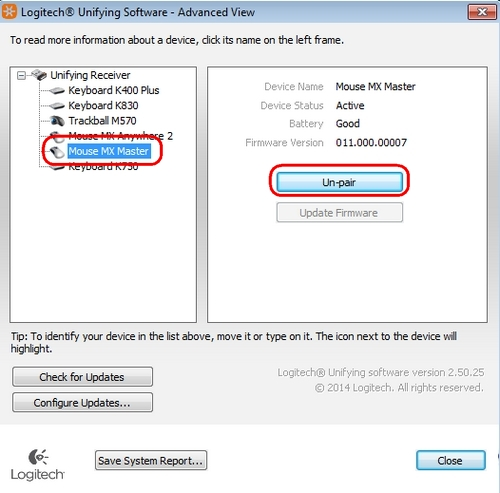 Unpair a mouse or keyboard from the Unifying receiver – Logitech